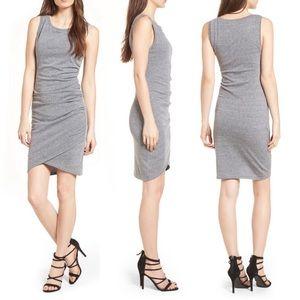 Leith Heather Gray BodyCon Scrunch Mini Dress Sz L